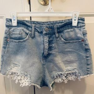 Wild Fable Denim Shorts, Distressed, Lace Cutouts.